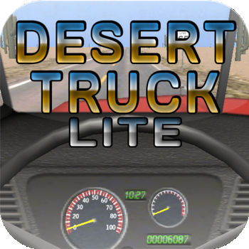 Desert Truck Lite - Based on the stupifyingly realistic simulator Desert Bus, Desert Truck aims to bring all of the excitement of driving a truck down an endless stretch of desert highway to the palm of your hand. Feel the engine roar. Count the cacti as they fly by. Fear for your life and career as you plow over street signs and desert plant life after falling asleep at the wheel. Watch out for that slight pull to the left! Do you have what it takes to rack up the miles in this endless game of trucking excitement?The CB radio and hula dancer have already been unlocked! What could be next?Amazing features:-Real time day cycle based on the actual time of day-Accelerometer controls.-Odometer is backed up online to track the total miles driven for every copy of Desert Truck-Pine-scented air freshenerComing soon, achievements, Game Center, and global distance traveled milestones that will unlock mildly interesting new features such as a hula girl bobbler, tumbleweed, a CB Radio with interesting characters to listen to, and actual goals!Have an interesting suggestion for an unlock, or something you\'d like to see improved? Leave a review. I appreciate your constructive feedback.Disclaimer: This game is intended for novelty purposes and, while amusing, has no ending and is not challenging. The road is always straight, and it merely requires you to hold the gas and correct the steering's slight  pull to the left. In order to fully enjoy the game, it is suggested that you make up your own goals or sing travel songs. Future versions of the game will include challenges and achievements to make the game a bit more interesting.Desert Truck Lite is supported by iAds.