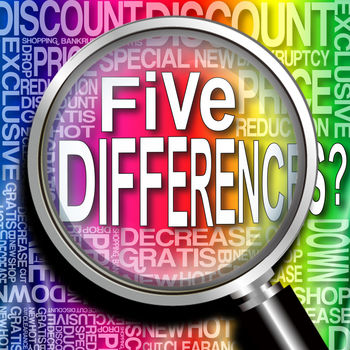 Five Differences? ? - Everybody loves it! Find the difference game! Let\'s find the different spots and touch them! There are 5 differences in each level. When you choose all of them correctly, get it wrong three times, or the time is up, the level is over. If you get two right answers, you can proceed to the next level. Depending on the place with the difference, the points differ. The time limit is about two minutes. In the first challenge, if you get the correct answers quickly, the score triples or doubles.Free Levels ... 420 levels.Add-On : - Level Pack A .. 90 levels - Level Pack B .. 90 levels- Level Pack C .. 90 levels- Bonus Pack ABC ... 30 levels- Level Pack D .. 90 levels- Level Pack E  .. 90 levels- Level Pack F  .. 90 levelsThank you.