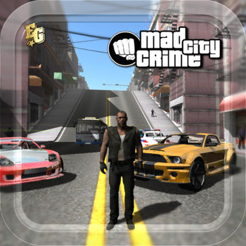Mad City Crime - -> Missions-> Third Person control-> Cool Classic cars & Sporctars-> Brilliant vehicle and drift physics-> Open world Environment-> Weather effects-> Voices-> 60 Cars 10 Motorbikes