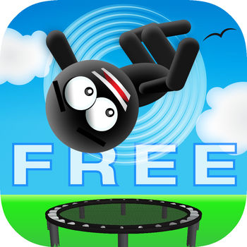 Stickman Trampoline - Backflip & Frontflip Action! - **JUMP WITH THE SUPER STICKMAN FREE THIS WEEKEND ONLY!****OVER 2.5 MILLION DOWNLOADS!**#1 Game in 20+ Countries!Do you have what it takes to master the insane heights & flip combos of the trampoline?You\'ll get hooked on Stickman Trampoline as you top GameCenter Leaderboards and land jumps like a Stickman Champ! Welcome to your new favorite way to pass the time.***** - \